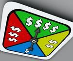 Stock Illustration of dollar sign board game spinner win riches lottery take chance