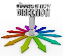 Choose a new direction arrows many choices paths forward Stock Illustration