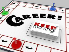 Career board game keep moving advancing promotion Stock Illustration
