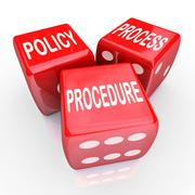 Policy process procedure 3 red dice company rules practices Stock Illustration