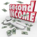 Stock Illustration of second income money falling side job work earn more cash
