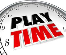 play time clock fun recreation recess sports activity - stock illustration
