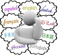 Languages thought clouds english spanish german french Stock Illustration