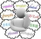 Stock Illustration of languages thought clouds english spanish german french