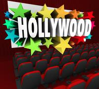 hollywood silver screen movie theater show business industry - stock illustration