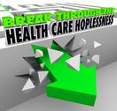 Stock Illustration of break through the health care hopelessness get insurance coverage