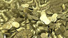 Gold coins multiplying on white surface Stock Footage
