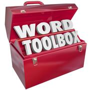Word toolbox teaching tools resources spelling reading lesson aids Stock Illustration