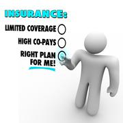 insurance choices right plan vs limited coverage high copay - stock illustration