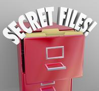 Secret files filing cabinet 3d words confidential classified information Stock Illustration