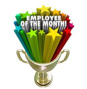 employee of the month gold trophy award top performer recognition - stock illustration