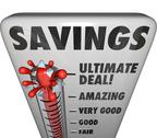 Stock Illustration of savings thermometer store sale discount bargain deal level