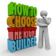 How to choose the right builder thinker question advice contractor Stock Illustration