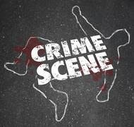 crime scene violent murder homicide forbidden area - stock illustration