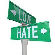 love vs hate road signs opposite changing feeling relationship - stock illustration