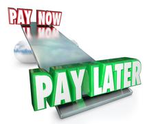 Pay now vs later delay payments borrow credit installment plan Stock Illustration