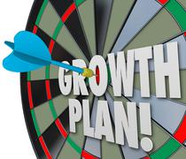 Growth plan words dart board direct hit targeting improvement increase Piirros
