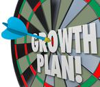 Stock Illustration of growth plan words dart board direct hit targeting improvement increase