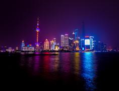 ShangHai Skyline glows at Night 4K Stock Footage