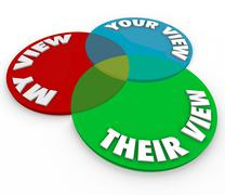 My your their view opinions venn diagram common shared interests Stock Illustration