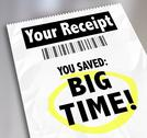 Stock Illustration of your receipt you saved big time store purchases sale discount