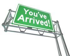 youve arrived freeway sign destination exit road direction - stock illustration