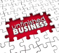 Unfinished business puzzle pieces hole work still to be done Stock Illustration