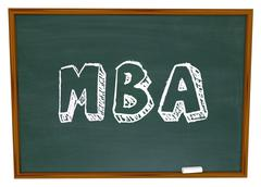 Stock Illustration of mba masters business administration college degree chalk board