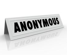 Anonymous name tent card confidential secret identity Stock Illustration