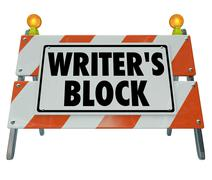 writer's block words road construction barrier barricade - stock illustration