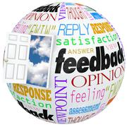feedback globe open door opinions reviews ratings comments - stock illustration