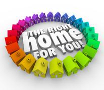 find the right home for you words houses real estate - stock illustration