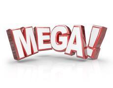 Mega 3d word large letters big huge enormous deal Stock Illustration
