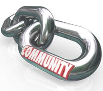 community word chain links society together diverse groups - stock illustration