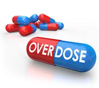 overdose word pills capsules od drug addiction - stock illustration