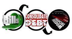 bills consolidate debt financial freedom diagram reduce money owed - stock illustration