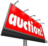 Auction word billboard buyer seller bidding real estate product Stock Illustration