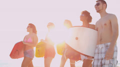 Happy Carefree Teenage Friends Weekend Break Stock Footage
