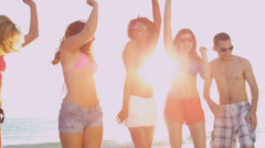 Carefree Young People Dancing Beach Vacation Stock Footage