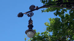 Types of Barcelona. Modernist street lights at the Paseo de Gracia street. Stock Footage