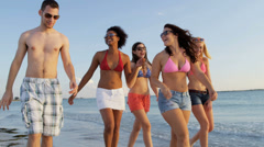 Young College Students Enjoying Weekend Break Beach Stock Footage
