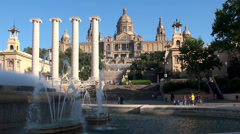 Types of Barcelona. Palau Nacional,  Four Columns & Magic Fountain Stock Footage