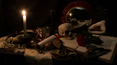 Vanitas 01 4K a still life like a classic painting Stock Footage