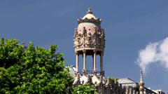 "Types of Barcelona. ""Fabergé egg"" tower of the Casa Lleo Morero Stock Footage"