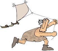 Caveman flying a kite Stock Illustration