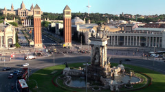 Types of Barcelona. View of Plaza d'Espanya (Plaza of Spain) Stock Footage