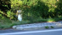 ride across the bridge, vehicle shot - stock footage