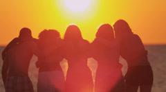 Group Teenage Vacation Friends Enjoying Sunset Beach - stock footage