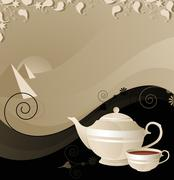 teapot and cup on the background of the desert - stock illustration