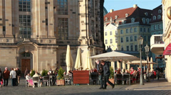 Cafe at Dresden Neumarkt Stock Footage